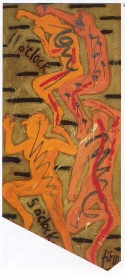 11 to 5 - oil and acrylic on canvas 300 x 140 cm - 1983