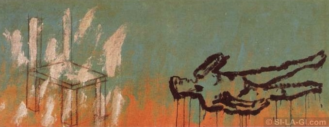 David and the chair - paint and crayon on canvas 90 x 240 cm - 1983