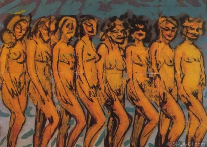 Mademoiselles de Stockholm / Stockholmi Kisasszonyok - acrylic paint, silk-screen on paper 220 x 280 cm - 1983