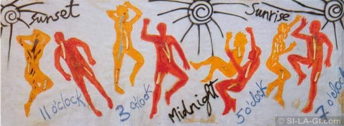 Midnight / Éjfél - oil, acrylic and bones on canvas 230 x 800 cm – 1983