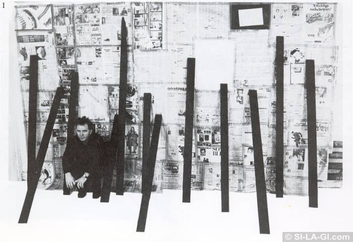 Wailing Wall [Siratófal] - Newspapers, painted wood, Xerox - 230 x 400 cm – 1981