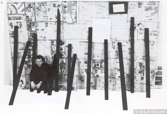 Wailing Wall [Siratófal] - Newspapers, painted wood, Xerox - 230 x 400 cm – 1981