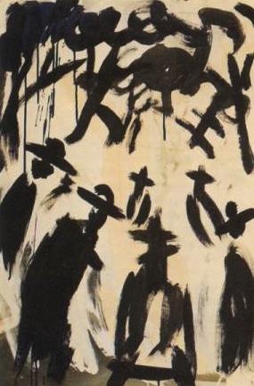 In the graveyard - acrylic on canvas 87 x 63 cm - 1968